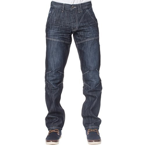NEU KRUZE Herren Regular Fit Designer Mode Markiert Jeans 28-48 - Herren, Dunkel Steinwäsche, 44W x 32L