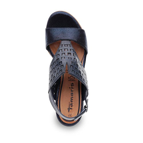 Tamaris 28129 - sandalias abiertas de material sintético mujer azul metalizado