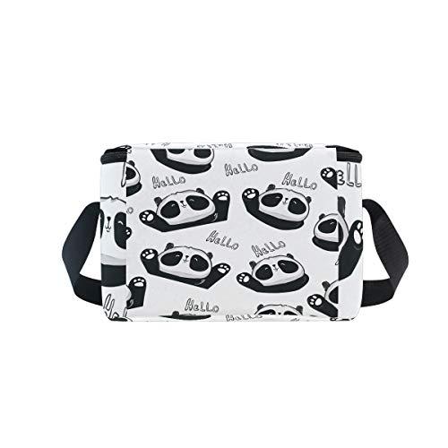 à Boîte Sac lunch Mignon Bandoulière pour Blanc animé Noir Panda nique Lovely déjeuner à pique Cooler Dessin dRxpBRnq