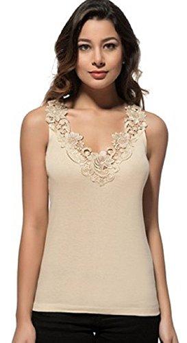 Maria Angel Lingerie Ladies Plain Cotton Wide Strap Vest Top Lace Trim Neck...