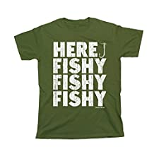 Here Fishy Fishy Fishy T-Shirt Mens Ladies Unisex Fit Funny Fishing