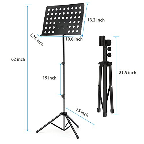 3-Pack MMS-2 Metal Adjustable Sheet Music Stand Portable With Music Stand Light Carrying Bag Black by Moukey (Image #5)