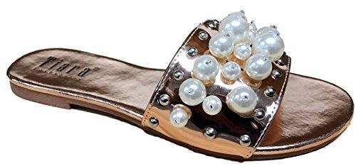 Tiara Dori-45 Femmes Flip Flop Perle Glisser Glisser Sur Plat Sandale Chaussure Pantoufle Rose Or Rose Or