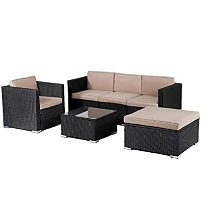 BestMassage Patio Furniture Outdoor Wicker Rattan Garden Furniture Set 6pcs Sofa Conversation Set with Cushions and Tempered Glass Tabletop for Yard