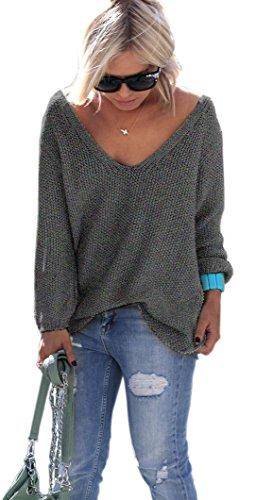Schöner Sommer Sexy Pullover mit V-Ausschnitt Pulli tollen Farben S/M (Graphite)