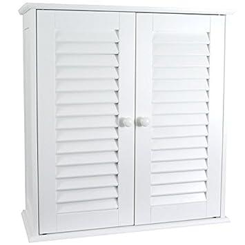 Home Discount® Bathroom Cabinet Double Door Shutter Wall Mounted Storage Shelf, White