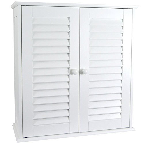 Home Discount® Bathroom Cabinet Double Door Shutter Wall Mounted Storage Shelf, White