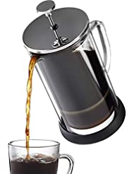 French Press Coffee Maker 34 oz - Innovative Double Glass Design Holds Heat, Dual Filters Provide a Smooth Brew - Includes 2 Additional Mesh Filters (34oz)