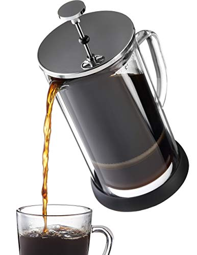 French Press Coffee Maker 34 oz – Innovative Double Glass Design Holds Heat, Dual Filters Provide a Smooth Brew – Includes 2 Additional Mesh Filters (34oz)