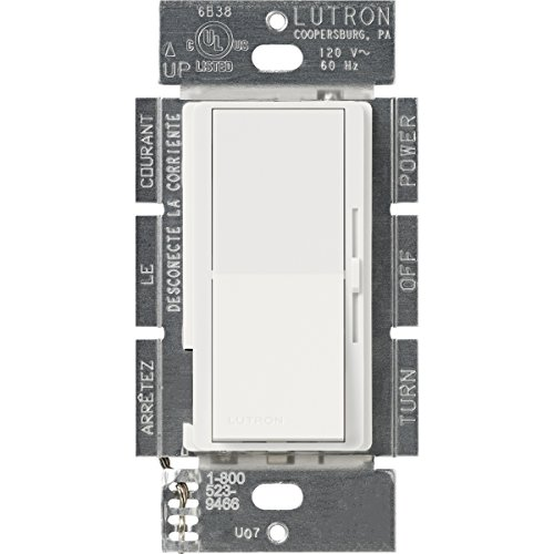Lutron DVSCELV-300P-SW Diva 300-watt Single Pole Electronic Low-Voltage Dimmer, Snow