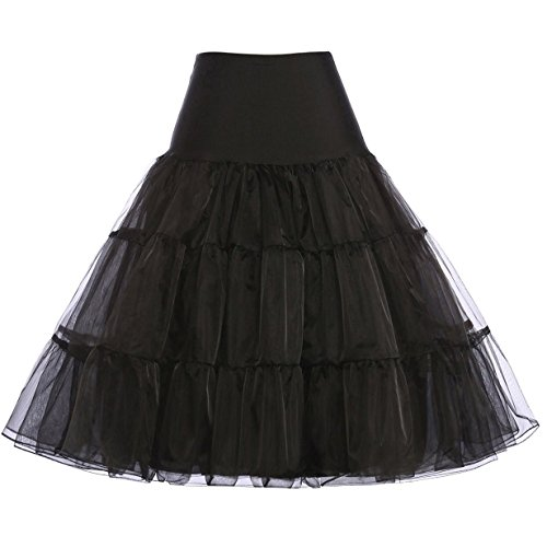 (GRACE KARIN Black Crinoline for Women 50s Swing Tutu Skirt Knee Length Petticoat Size)