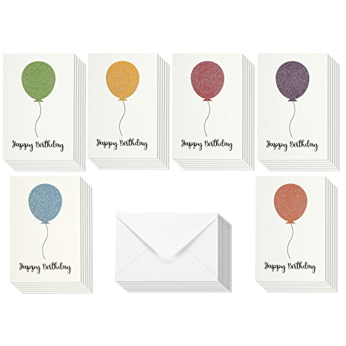 36 Pack Happy Birthday Cards - Blank Greeting Cards - Greeting Cards Bulk Happy Birthday Card Set - Blank Birthday Cards - Glitter Birthday Card Designs - Envelopes Included, Multicolor, 4 x 6 (Glitter Birthday Cards)
