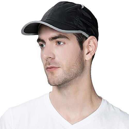 Unisex Quick Dry Mesh Outdoor Baseball Sun Cap UPF 50+ Running Hiking Golf Cap Black One Size