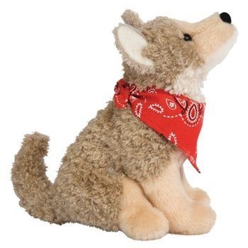 Trixter the Little Plush Coyote with Bandana by (Coyote Plush)