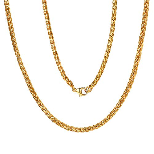 - Gold Plated Spiga Wheat Chain 3mm Mens Necklace Gift Rope Chain Gold