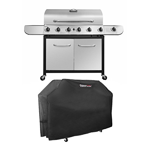 Royal Gourmet Classic Stainless Steel 6-Burner Cabinet Gas Grill with Side and Sear Burner(Grill + Cover)