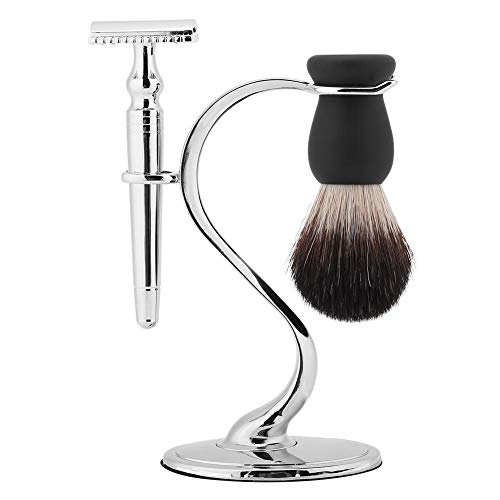 Soporte para brocha de afeitar, soporte para brocha para barba de afeitar, herramienta de cuidado de barba 2 en 1 El acero...