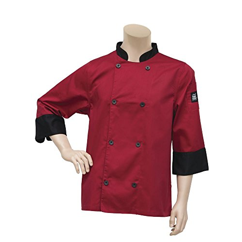 Chef Revival Tomato Red Chef Jacket Poly Cotton Crew Fresh - Large (Chef Revival Clothing)