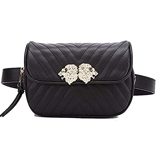 Beatfull Designer Leather Waist Bag for Women with Lion Insect Pattern (line-Black)