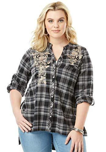 d6774d2ab3d Roamans Women s Plus Size Plaid Flannel Maxi Tunic with High-Low Hem ...