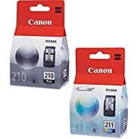 Canon PG-210 Black, CL-211 Color Ink Cartridge Set for...