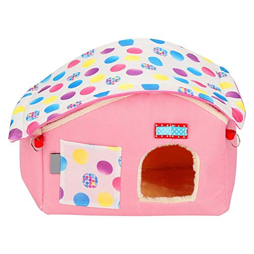 Animal Hanging Play Exercise House Bed for Rabbit Ferret Hamster Guinea Pig Mkouo Warm Hammock Hanging Bed Tent Toy Cotton House for Small Animal (Pink)