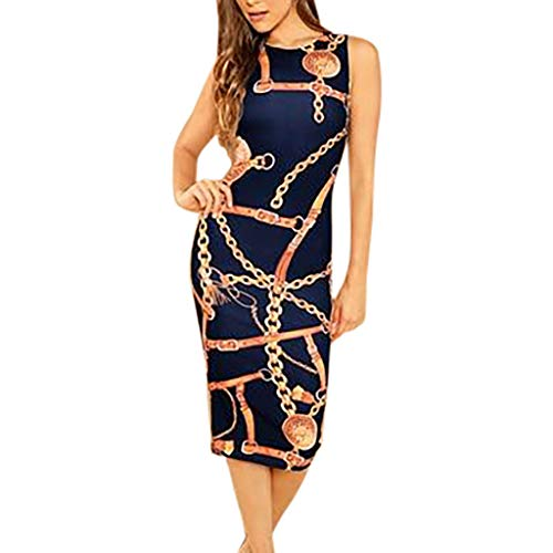 Sanyyanlsy Women Metal Chain and Belt Print Sheath Pencil Hip Wrapped Slim Sleeveless Knee-Length Dress Elegant Daily Blue