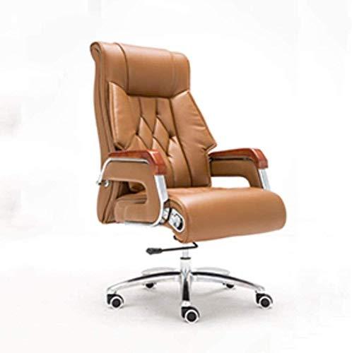 WYKDL Ejecutivo giratoria ajustable silla giratoria de oficina con un estudio Silla reposabrazos Soporte lumbar escritorio silla ergonomica jefe silla reclinable ordenador personal Silla de cuero gira