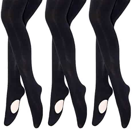 3c64da2c9d473 MANZI Girls Solid Color Comfortable Convertible Ballet Tights 3 Pairs Pack