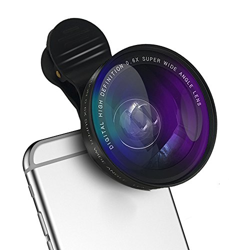 Universal Cell Phone Camera Lens, HeQiao Clip-on HD 2-in-1 Wide Angle Lens Macro Lens Kit for iPhone Samsung Mobile Tablet