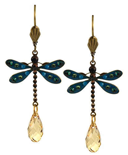 Anne Koplik Dragonfly Earrings, Teal/Fawn Gold Plated Dangle with Jeweled Drop