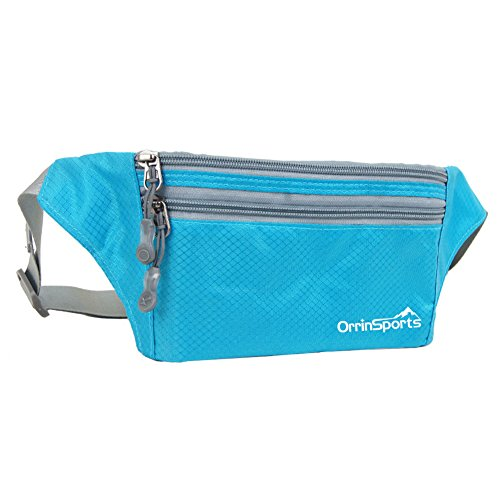 OrrinSports 3 Zippers Water Resistant Polyester Sports Fanny Pack with Waist Belt Sky - Kids Zalora