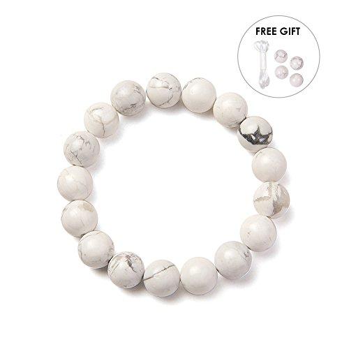 SUNNYCLUE Natural Genuine White Gray Howlite Gemstones Bracelet Stretch 10mm Round Beads about 7