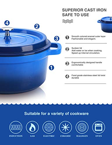 SULIVES Non-Stick Enamel Cast Iron Dutch Oven Pot with Lid Suitable for bread baking use on gas electric oven 1.5 Quart… Salted Salad