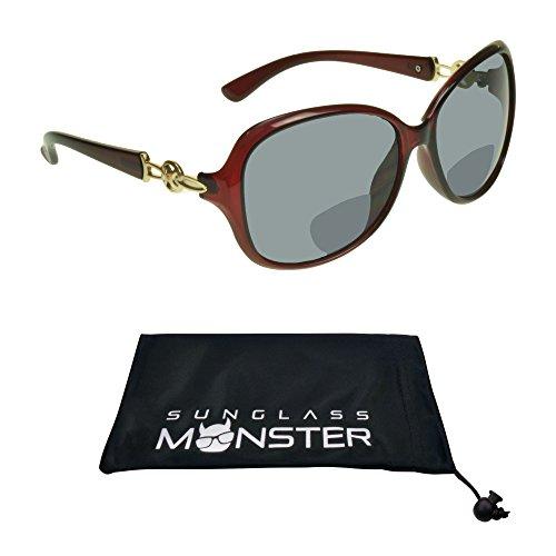 Womens Bifocal Sunglasses Sun Reader Sexy Oversized Frame with Metal Accent on Temples ()