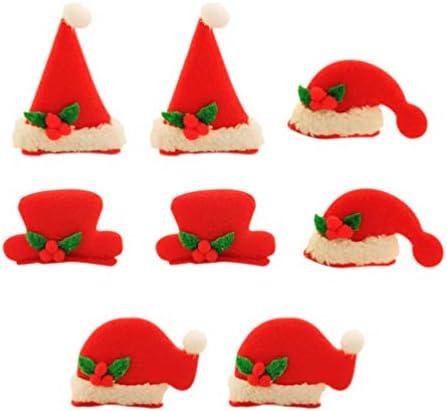 Frcolor ヘアクリップ ヘアピン クリスマス 発光 LED クリスマス髪留め 髪飾り 可愛い おしゃれ サンタ シルクハット帽子 クリスマスパーティー用 子供 8ピース(混合 セット)