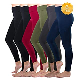 Fleece Lined Leggings Women 6 Pack High Waist Leggings Full Ankle Length Warm Slimming Leggings