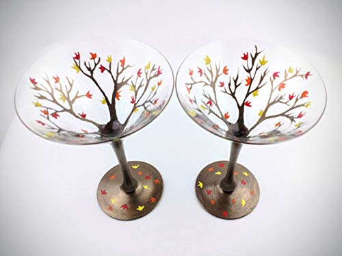 (Fall Leaf Martini glasses, hand painted - Set of two)