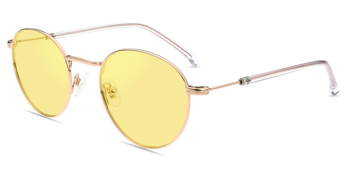 Firmoo Blue Light Blocking Glasses Computer Gaming/Glasses Tinted Lens Anti Glare UV Digital Relief Eyestrain Headache Gold Nerd Eyeglasses Women Men by Firmoo