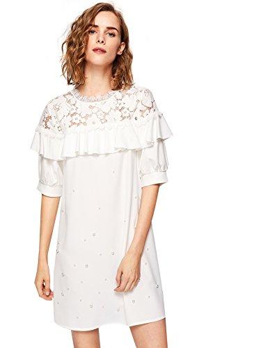 Floerns Women's Floral Lace Shoulder Pearl Beading Flounce Vintage - Dress Flounce Lace
