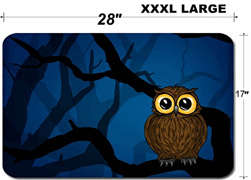 Liili Large Table Mat Non-Slip Natural Rubber Desk Pads Illustration of cute little owl in the forest at night Photo 546509