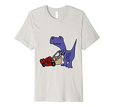SmileteesDinosaur Funny T-rex Dinosaur Mowing Lawn T-shirt