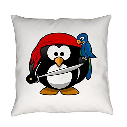 Truly Teague Burlap Suede or Woven Throw Pillow Little Round Penguin - Pirate & Parrot - Suede, 20 (Bandana Pirate Suede)