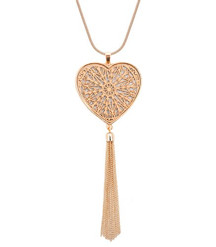 Shaped Tassel (MOLOCH Long Necklaces for Woman Cute Heart Pendant Necklaces Tassel Fringe Necklace Set Statement Pendant (Heart-Shaped-Gold))