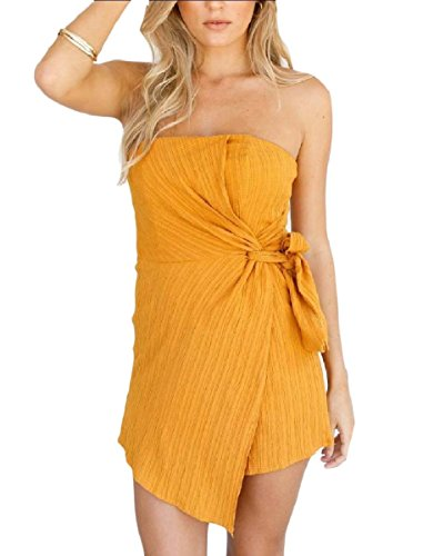 Maisicolis Women Casual Pure Colour Smocked Waist Tube Jumpsuits Romper Yellow XS