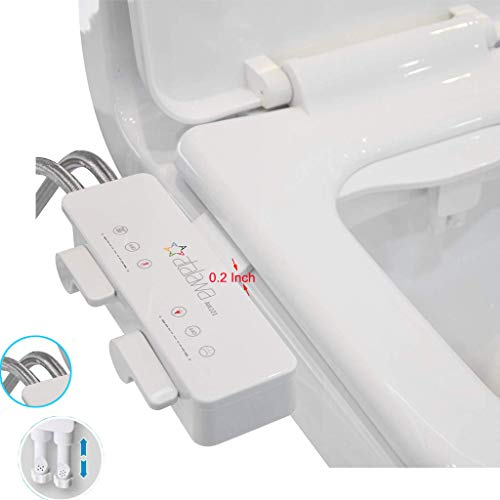 Atalawa AW221 Slim Design Non-Electric Mechanical Bidet Attachment with Dual Self Cleaning Nozzle for Toilet Seat, Fresh Water Sprayer (Cold & Hot Water) ()