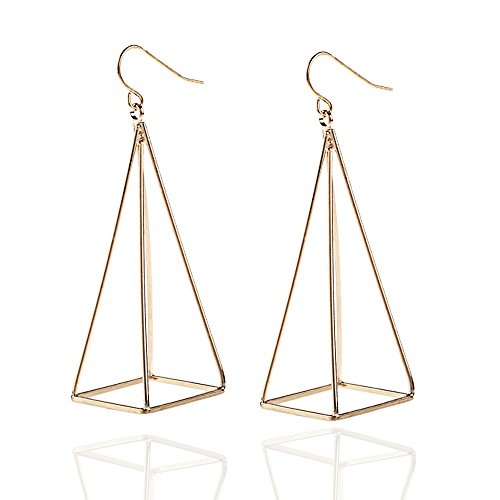 Gold Q&Q Fashion Blogger Aztec Gold Cut Out 3D Triangle Pyramid Steampunk Diva Gypsy Earrings