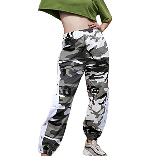 JEELINBORE Pantaloni Mimetici Pantaloni Jogging Camo per Fitness Grigio Cargo Donna Outdoor rqEYra