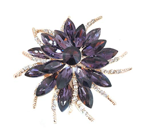 Corsage Brooch - Women Rose Flower Brooch Pin Fashion Crystal Rhinestone Corsage (A Rose Flower Rose Gold Purple)