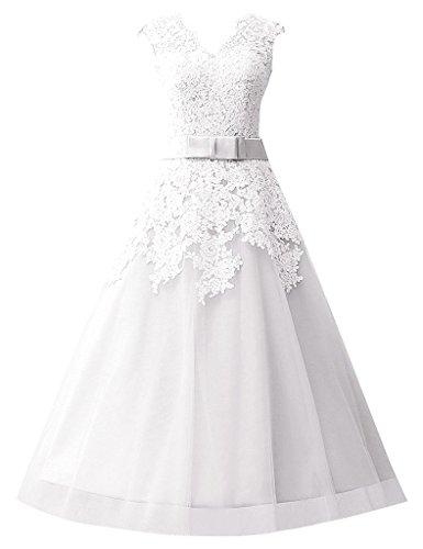 Ausschnitt JAEDEN Wadenlang A Damen Linie Tüll Weiß Hochzeitskleider Brautkleider V aBHqP